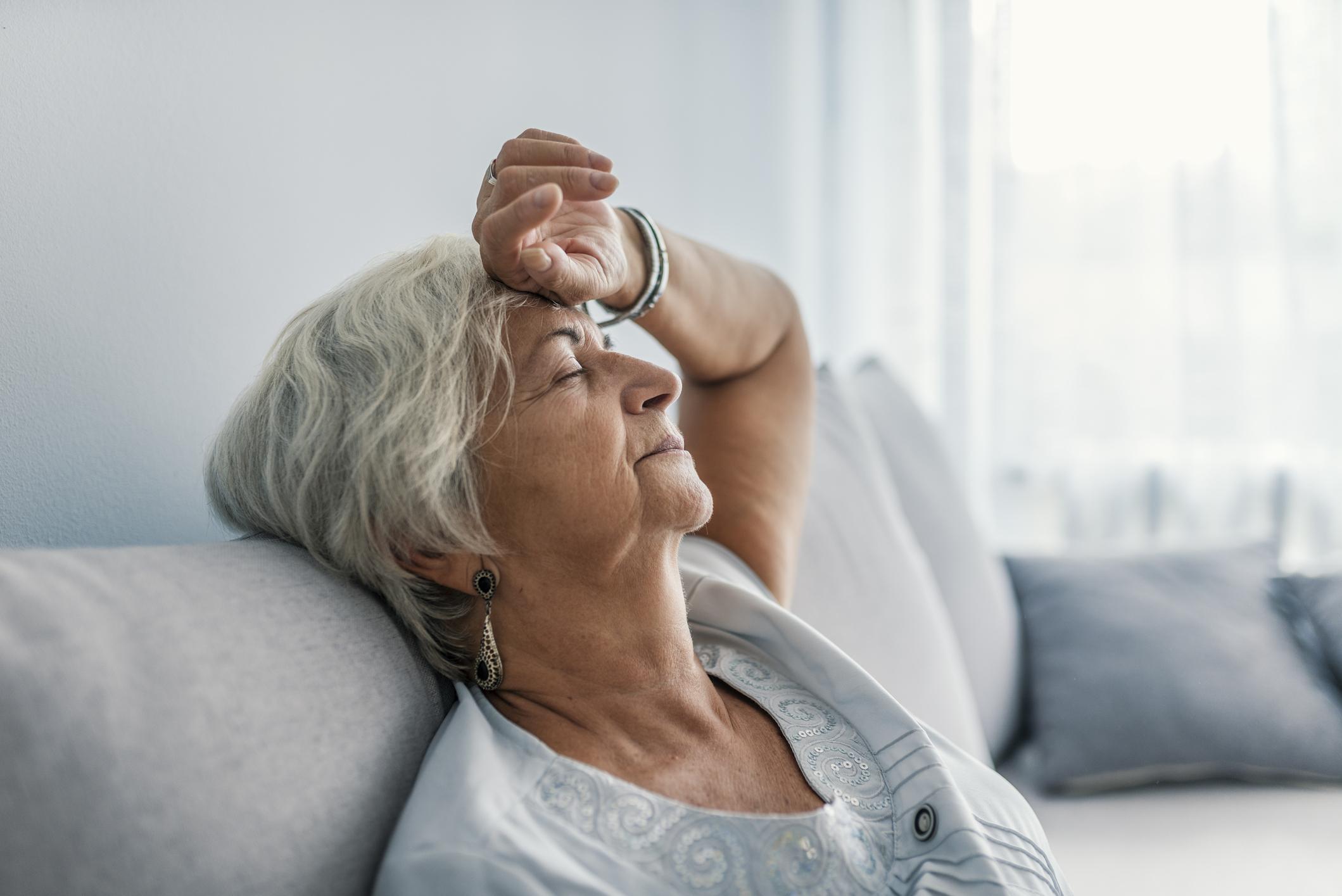 Senior woman experiences senior fatigue